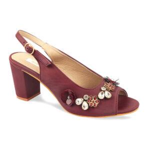 Maroon Block Heel Sandal