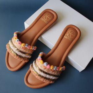 Marigold Pom Pom Embellished Slides